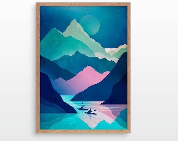 Kayaking art print. Kayak, lake and mountains. Perfect wall decoration for your home.