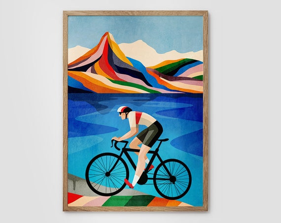 Cycling print. Ideal print for decorating your living room or office.