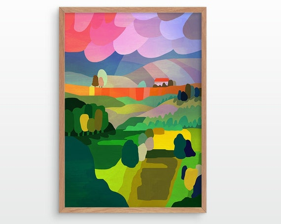 Landscape art print. Storm over countryside. Ideal print for decorating your living room or office.