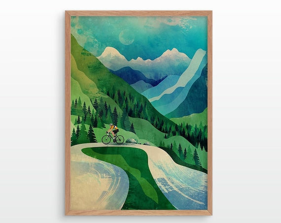 Cycling art print. Cyclist ascending in mountains.