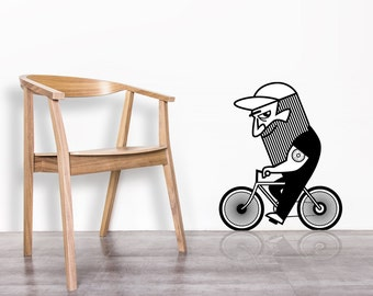 Wall decal  / Bicycle / Riding bike / Cycling / Beard /  Home decor / Cycling art / Bicycle home decor / Office decor