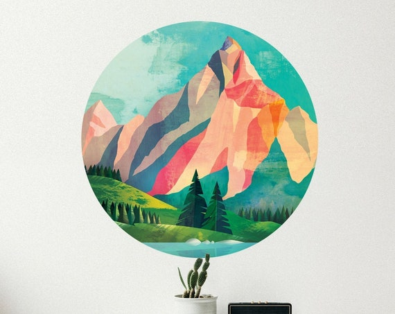 Mountain wall decal. Self adhesive, repositionable and removable fabric.