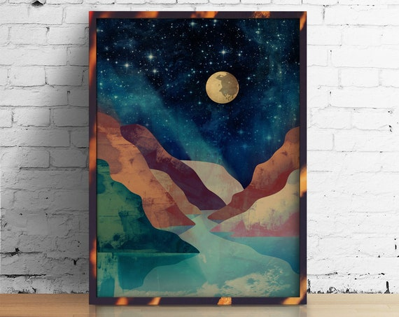 Landscape art print. Mountain print. Ideal print for decorating your home or office.