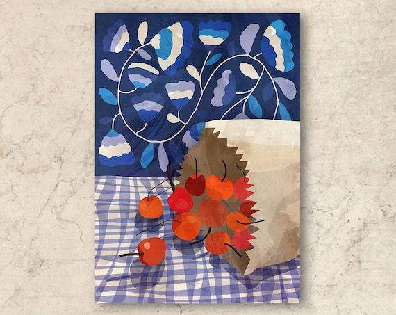 Cherries art print. Illustration print.