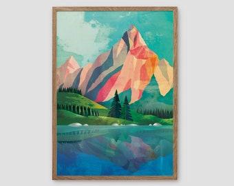 Landscape art print. Mountain print.