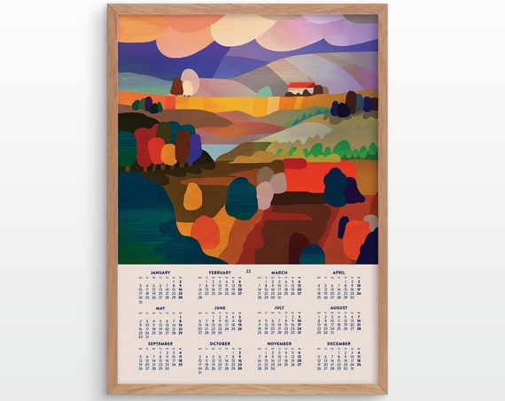 2022 wall calendar.  Abstract landscape. Wall decor for your home or office.