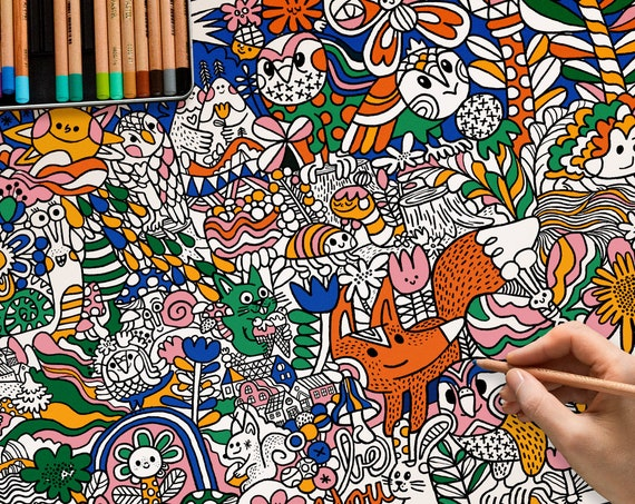 Big size colouring page for kids.