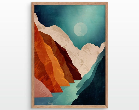 Canyon Mountain landscape art print. Great gift for a hiker.