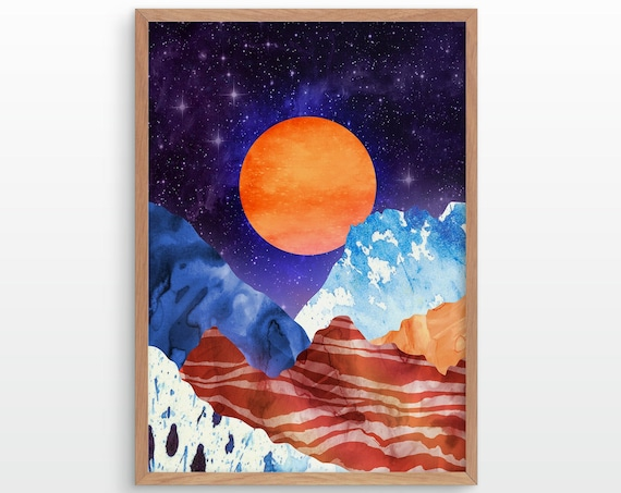 Orange moon. Mountain print. Ideal print for decorating your home or office.