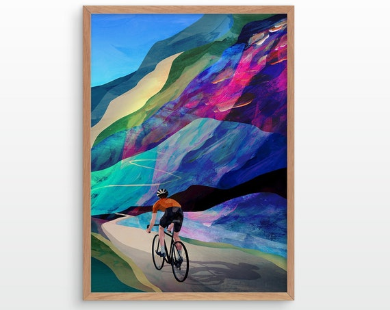 Cycling art print. Cycling high in the mountains.