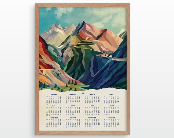 2022 Mountain pass wall calendar. Wall decor for your home or office.