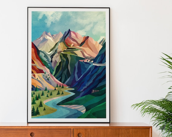 Mountain Pass - Large size outdoor art print. 55 x 75 cm / 21.7 x 29.5 inch.