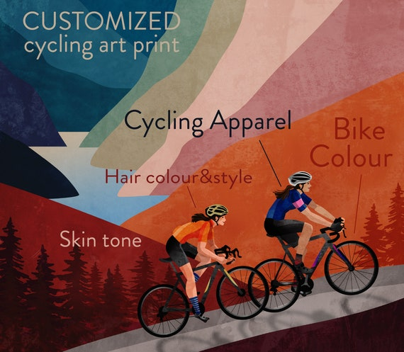 Customized cycling art print. Great gift for cyclists couple.