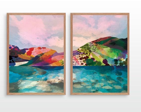 Set of two landscape art prints. Rainbow reflection.