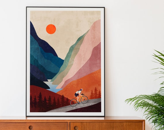 Large size cycling art print. 55 x 75 cm / 21.7 x 29.5 inch. Great gift for cyclists.