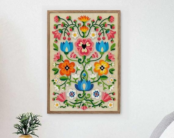Mountain Flowers art print. Illustration print. Home decor with folk motiv.