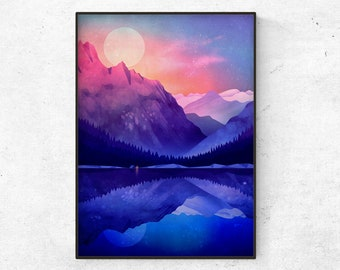 Landscape art print. Camping by the lake.