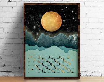 Maan kalender 2018, muur kalender 2018 - maan met bergen kalender A3, A3 +, A2 - kalender afdrukken - art print - kunst aan de muur - home decor