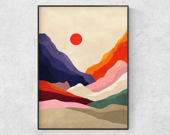 Landscape art print. Warm summer. Perfect wall decor.