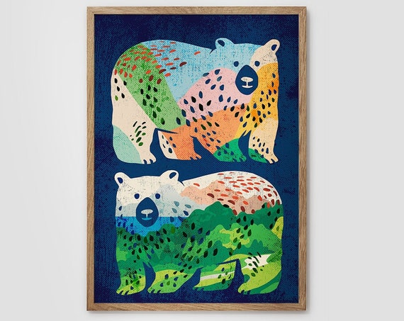 Art print. Bear friends forever. Illustration. Beautiful archival print for your wall. Available up to A2 size.