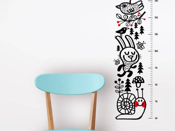 Growth Chart Height Chart Wall Decal Forest Animals Etsy