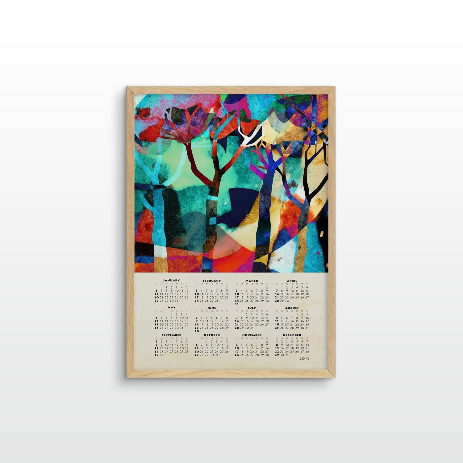 2019 Wall Colorful Forest Calendar Landscape Forest Art Etsy