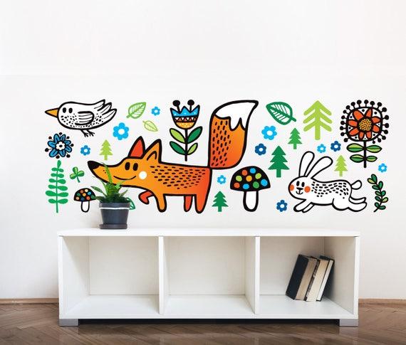 Sticker Chambre Denfant Woodland Decal Fox Décoration Murale