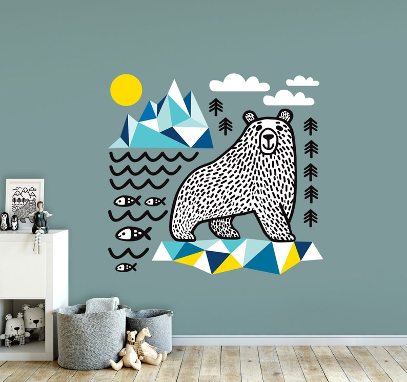 polar bear wall decal. perfect wall sticker for your room. it   etsy