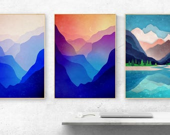 Landscape art prints. Set of three art prints. Perfect for decorating your walls at home or office.