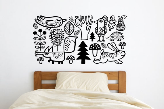 nursery wall decal. wild animals in the woods. easy to apply   etsy