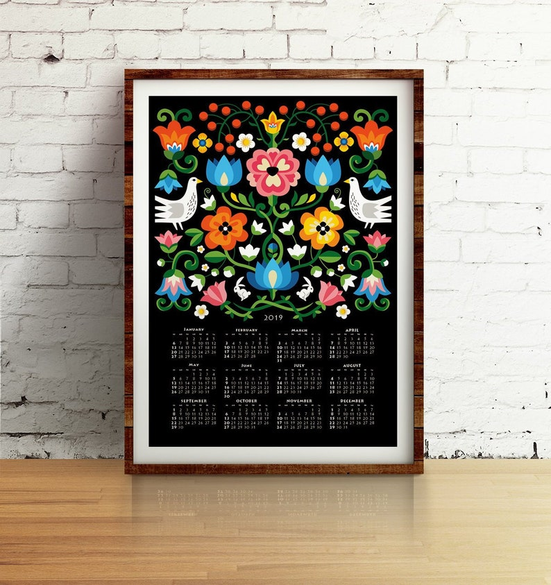 2019 Wall Calendar Inspired By Folk Art Wall Decor For Your Etsy