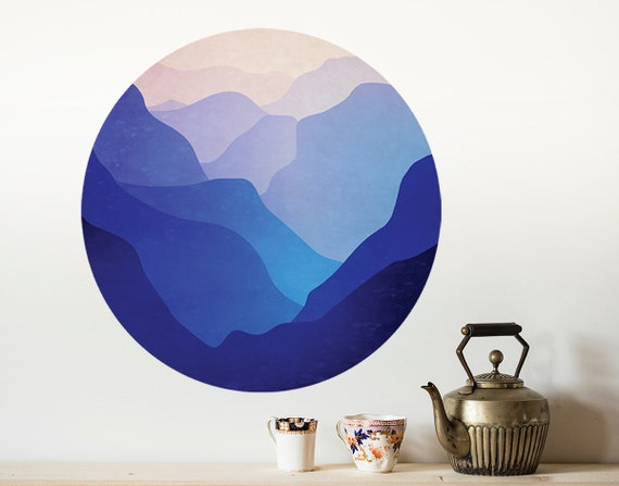 Landscape wall decal. Valley with mountains. Self adhesive, repositionable and removable fabric.