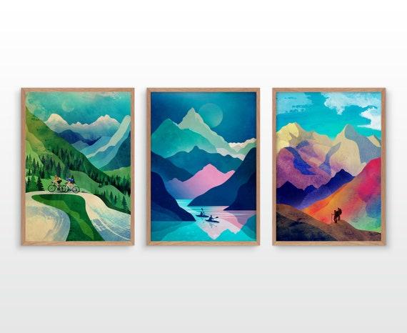 Set of three hike bike and kayak art prints.