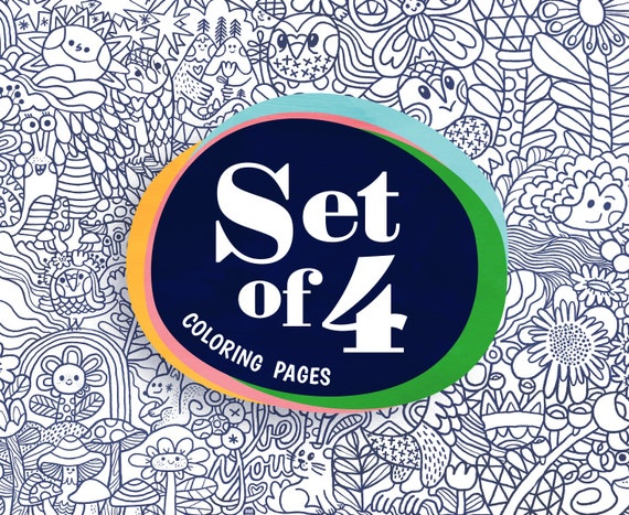 Set of 4 different colouring pages for kids.