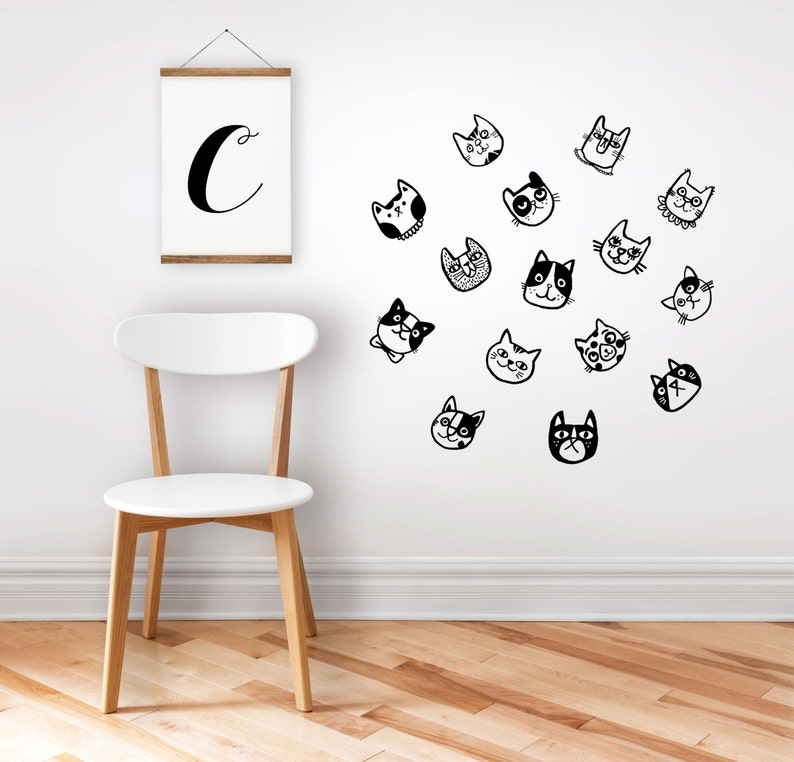 cat wall stickers. removable stickers. wall decals. great   etsy