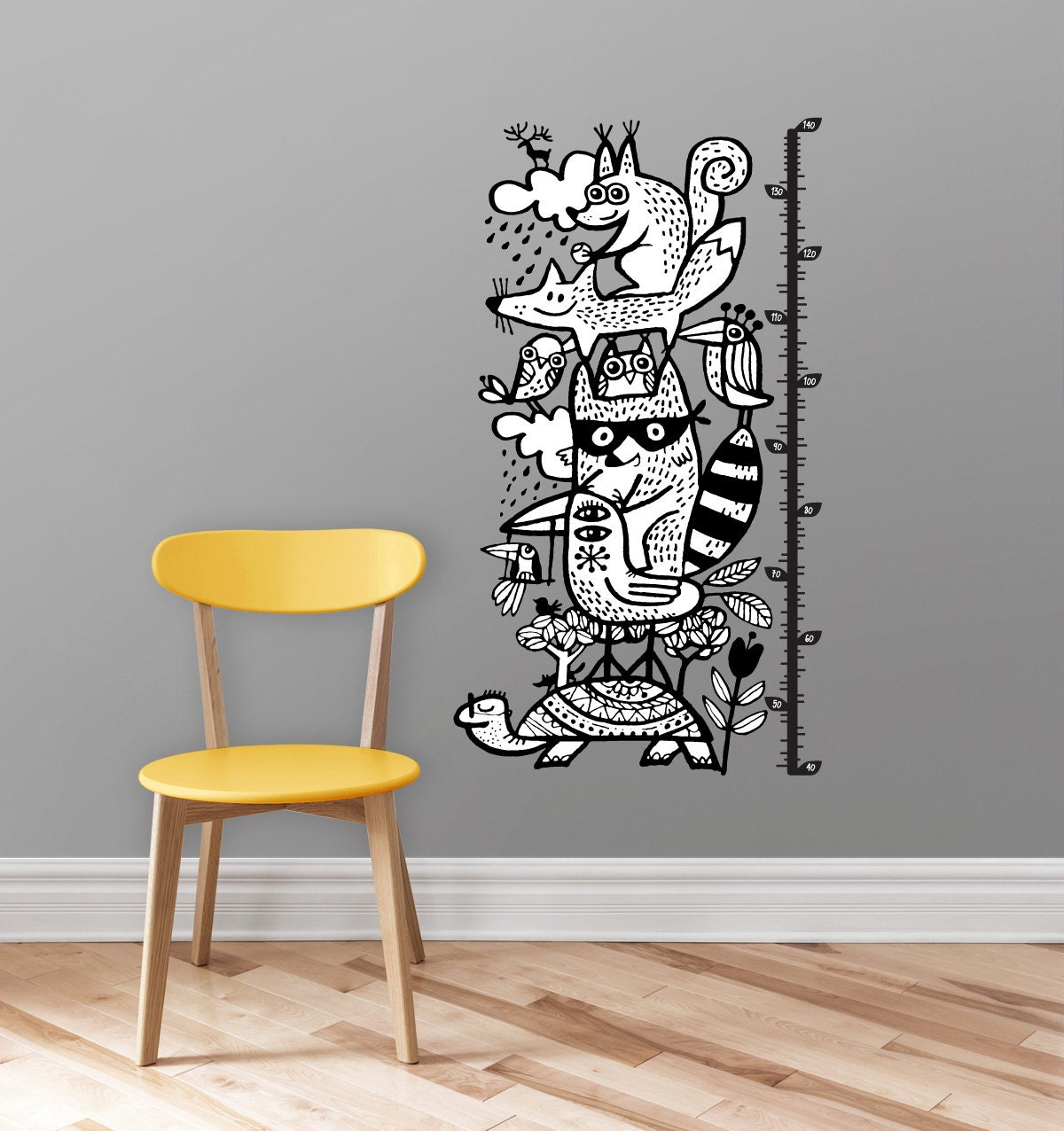 Height Chart Wall Decal Racoon Turtle Fox Children Wall Decals