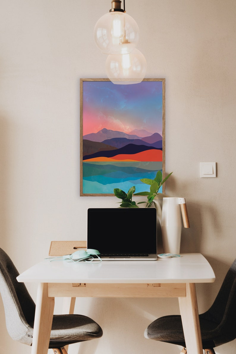 Home decor for your home. Mountains by the sea art print