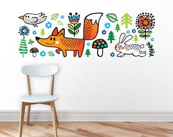 Nursery decal / woodland decal / Fox / wall decor / office decor / wall sticker / wall art / wild animals / wilderness / nature