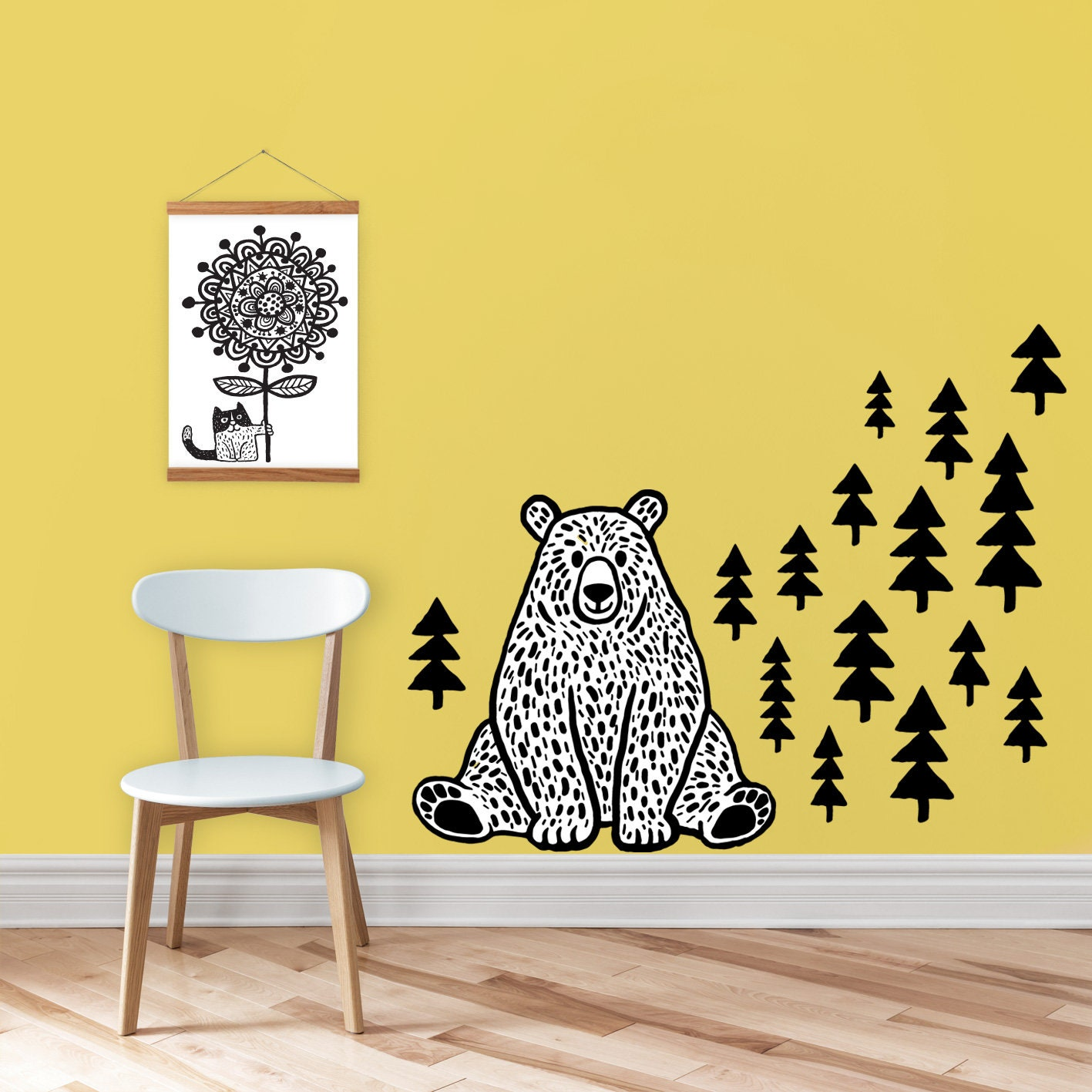 Bear wall decal - wall sticker - animal - mountains vinyl - home ...