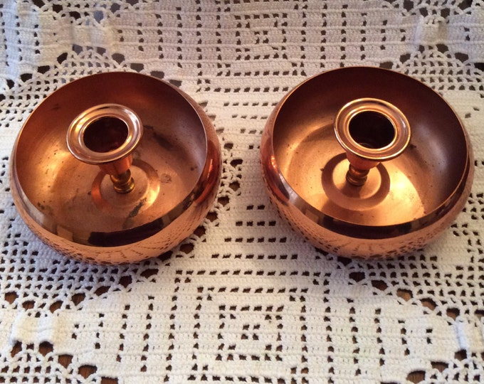 Set of Two 1970's VINTAGE COPPER Candle Holders By Coppercraft Guild