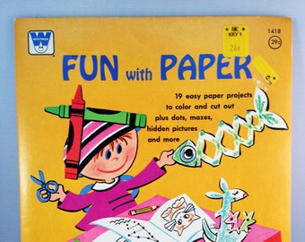 WHITMAN Fun With Paper Activity Book COLORING BOOK