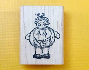 PUMPKIN Kid Wood Mount Rubber Stamp by PEDDLER'S PACK Stampworks 1994 Halloween