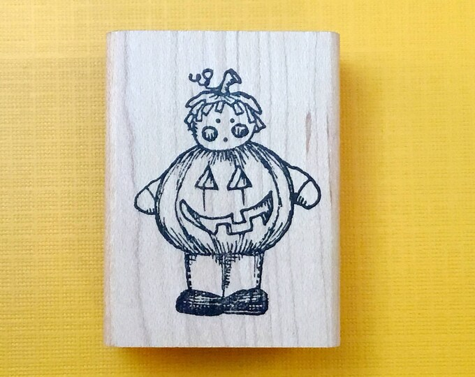 PUMPKIN Kid Wood Mount Rubber Stamp by PEDDLER'S PACK Stampworks 1994 Halloween