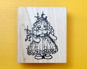 Fairy PRINCESS Kid Wood Mount Rubber Stamp by PEDDLER'S PACK Stampworks 1995-96 Halloween