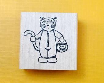 CAT Kid Wood Mount Rubber Stamp by PEDDLER'S PACK Stampworks 1995-96 Halloween