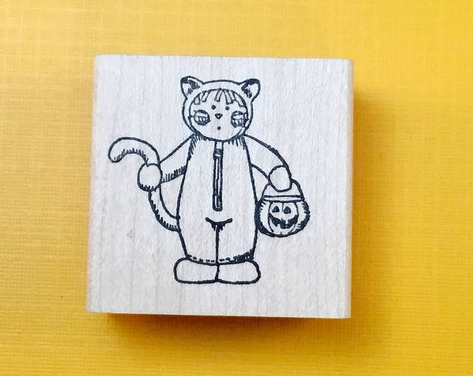 CAT Kid Wood Mount Rubber Stamp by PEDDLER'S PACK Stampworks 1995-96 Halloween