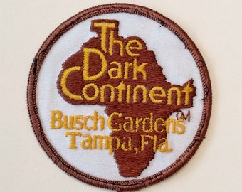 Vintage BUSCH GARDENS The Dark Continent Tampa, FLORIDA Sew-On Appliqué Embroidered Patch Iron-On Patch