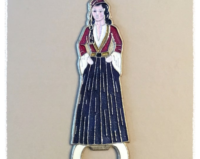 Bronze / Enamel GREEK WOMAN Bottle Opener VINTAGE