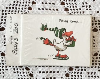 Vintage SUZY'S ZOO Invitations CHRISTMAS Holiday Party Pack of 8