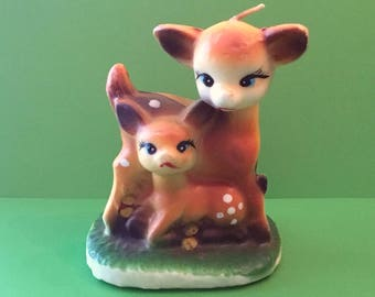 Vintage WAX Mama and Baby DEER CANDLE Christmas Candle Fawn